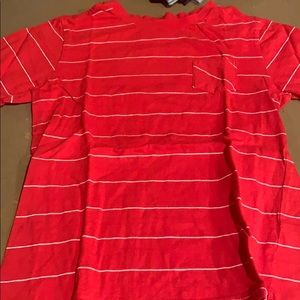 Red striped pocket t